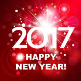 Beautiful red fireworks with  greetings  Happy New Year 2017! Royalty Free Stock Photography