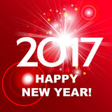 Beautiful red fireworks with  greetings  Happy New Year 2017! Royalty Free Stock Image