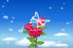 Red flower and blue sky. Beautiful red flowers, buble background Royalty Free Stock Images
