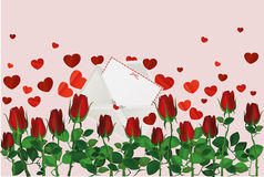 Beautiful red flowers. Roses with envelope and hearts. Empty space Royalty Free Stock Photography