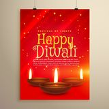 beautiful red flyer for diwali celebration. Diwali greeting temp stock illustration