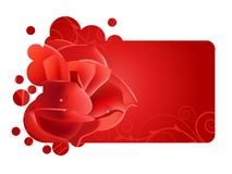 Beautiful red frame with rose Royalty Free Stock Photography