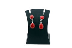 Beautiful red gemstone silver ear rings Stock Photography