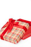 A beautiful red gift box with red bow.  Stock Photo