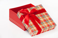 A beautiful red gift box with red bow Stock Photo