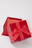 Beautiful red gift box with red bow Royalty Free Stock Photos