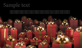 Beautiful red gift boxes with gold ribbon. On black 3D render ( high resolution Stock Photo