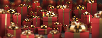 Beautiful red gift boxes with gold ribbon. On black 3D render ( high resolution Stock Image