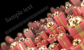 Beautiful red gift boxes with gold ribbon. Isolated on black 3D render ( high resolution Stock Photo
