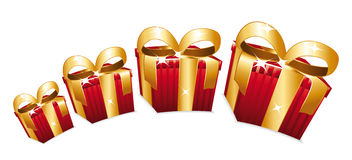 Beautiful red gift boxes jumping. Stock Image