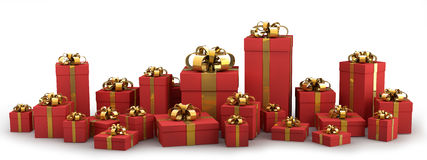 Beautiful Red Gift Boxes With Gold Ribbon Royalty Free Stock Image