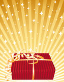 Beautiful red gift on a golden bright background. Vector illustration Stock Images