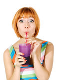 Beautiful red girl with glass of soda Royalty Free Stock Photo
