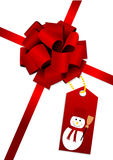 A beautiful red glossy bow with sn Stock Photos