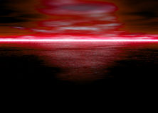 Beautiful Red Glowing Horizon at Night for Dawn. Or Sunset Royalty Free Stock Photography