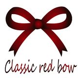Festive red classic bow. Beautiful red gradient bow - close-up on isolated white background Royalty Free Stock Photos