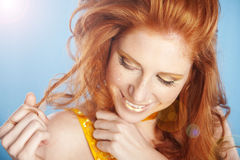 Beautiful red hair Stock Images
