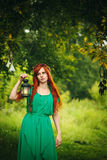 Beautiful red hair girl with deep green eyes Royalty Free Stock Photography