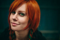 Beautiful red hair girl with deep green eyes Royalty Free Stock Photos
