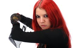 Beautiful red hair girl with katana sword Stock Photography