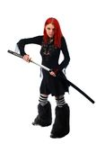 Beautiful red hair girl with katana sword Stock Images