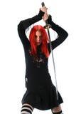 Beautiful red hair girl with katana sword Stock Photos