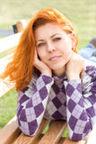 Beautiful red hair girl stock images