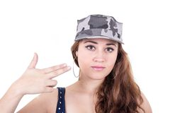 Beautiful red hair girl wearing military cap Royalty Free Stock Photo