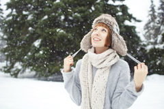 Girl in winter park Royalty Free Stock Photography