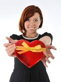 Beautiful red hair woman holding heart shape box anniversary box Royalty Free Stock Photos