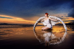Beautiful red-haired angel Stock Photography