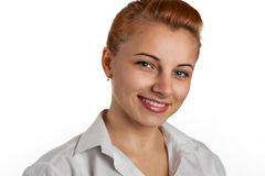 Beautiful red-haired business woman is smiling Stock Photography