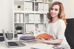 Beautiful red haired businesswoman in office stock images