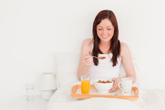 Beautiful red-haired female having her breakfast Stock Photography