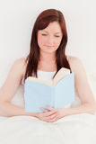 Beautiful red-haired female reading a book Royalty Free Stock Image