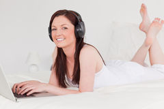 Beautiful red-haired female relaxing Royalty Free Stock Image