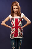 Beautiful red haired girl. With blue eyes and flag on t-shirt Royalty Free Stock Photos