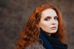 Beautiful red-haired girl close-up Royalty Free Stock Photography