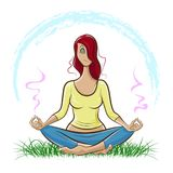 Beautiful red-haired girl doing yoga and meditating on the lawn. Vector illustration shows Beautiful red-haired girl doing yoga and meditating on the lawn Stock Photography