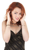 Beautiful red-haired girl in handcuffs Royalty Free Stock Image