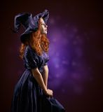 Beautiful Red-haired Girl In Costumes Witch Stock Photography
