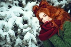 Beautiful red-haired girl leaning her head against snow covered fir branch and warming her hands under scarf royalty free stock images