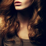 A Beautiful red-haired girl's portrait. Natural hairstyle. Healthy Hair. Close up. Studio shot Stock Photography