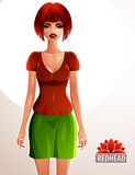 Beautiful red-haired lady illustration Royalty Free Stock Image