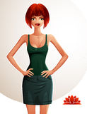 Beautiful red-haired lady illustration, full body portrait Stock Photography