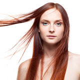Beautiful red haired with windy hair Royalty Free Stock Photos