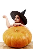 Beautiful red-haired witch casts a spell over pumpkins. Hallowee Stock Photos