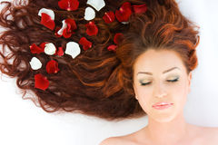 Beautiful red-haired woman Stock Images