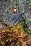 Beautiful red-haired woman in autumn Stock Photography
