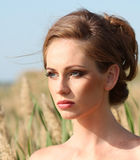 Beautiful red haired woman with freckles Stock Images